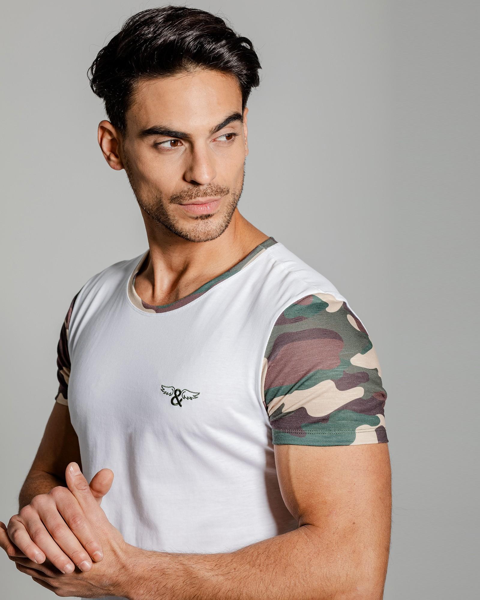 Camiseta estampado camo, cuello redondeado. Estilo urbano ELIU streetwear.