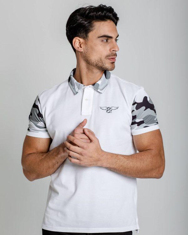 Camiseta polo slim fit estampado camo, 100% Algodón. Estilo urbano ELIU streetwear.
