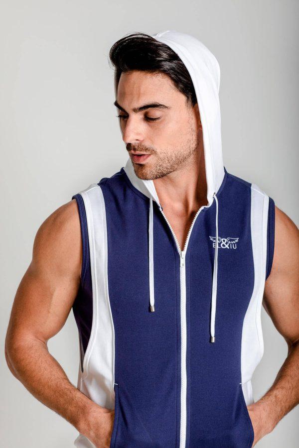 Chaleco deportivo con capucha. 100% algodón. Ropa de deporte estilo urbano marca ELIU clothing streetwear.