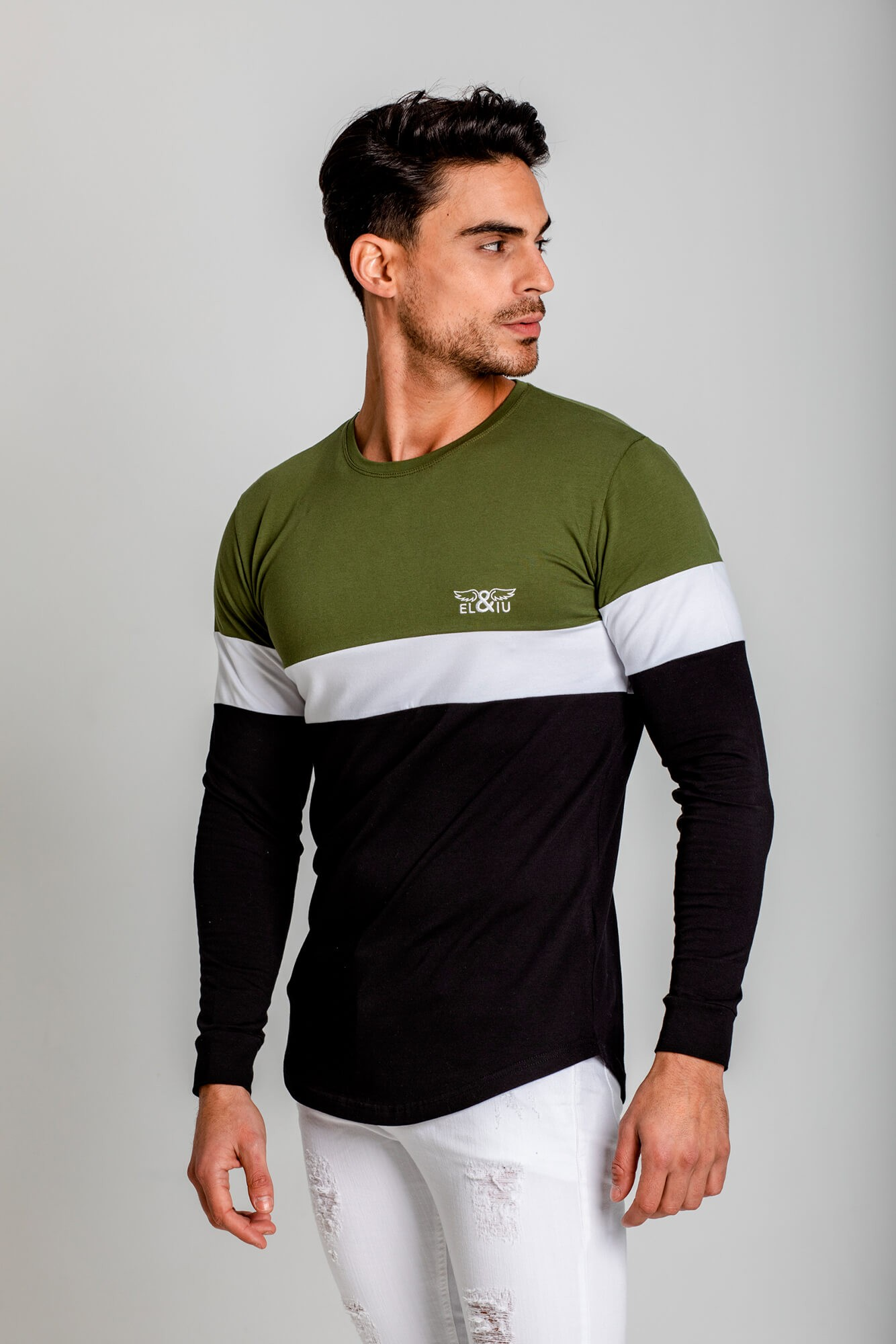 Camiseta manga larga Tricolor, cuello redondo. Estilo urbano de la marca ELIU streetwear.