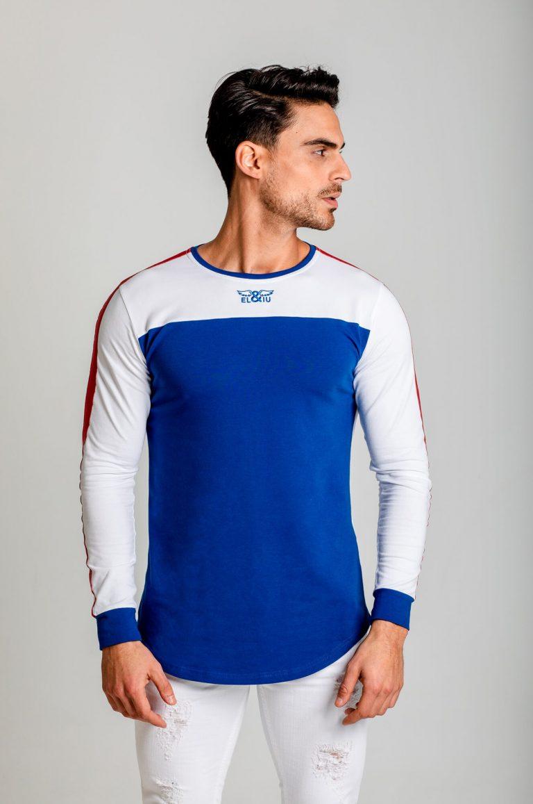 Camiseta manga larga Contrast, cuello redondo. Estilo urbano de la marca ELIU streetwear. Eliu clothing