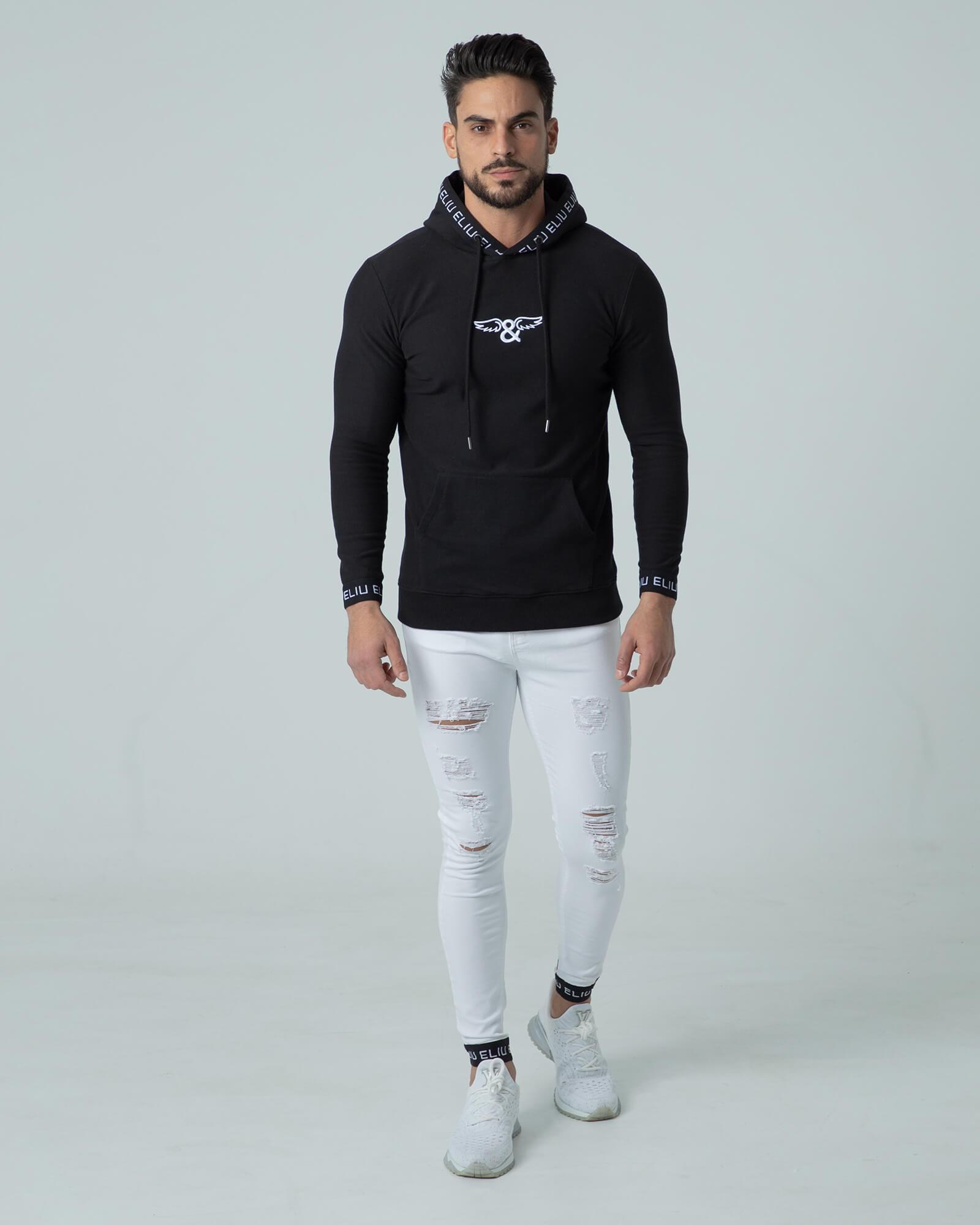 Sudadera negra con capucha Hoodie Sport. Estilo urbano ELIU streetwear.