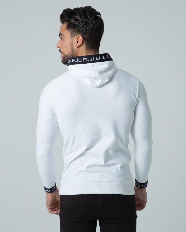 Sudadera blanca con capucha Hoodie Sport. Estilo urbano ELIU streetwear.