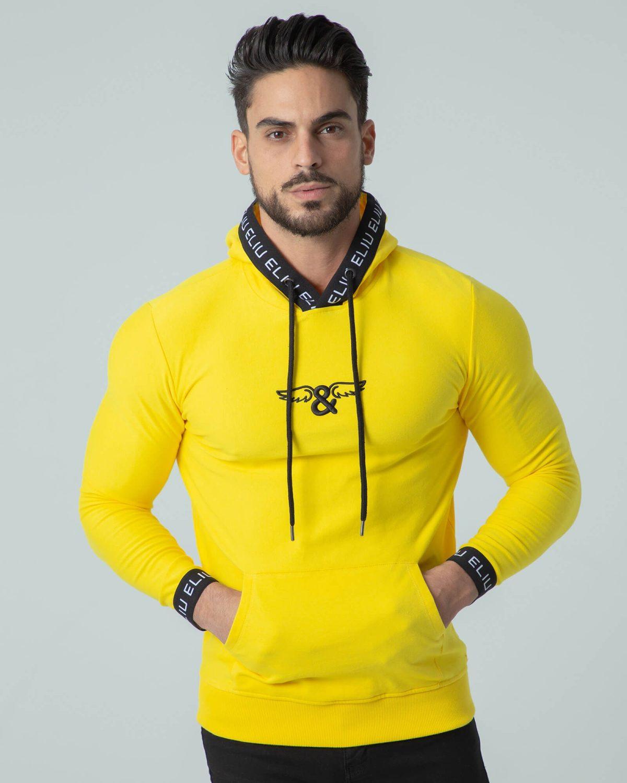 Sudadera amarilla con capucha Hoodie Sport. Estilo urbano ELIU streetwear.