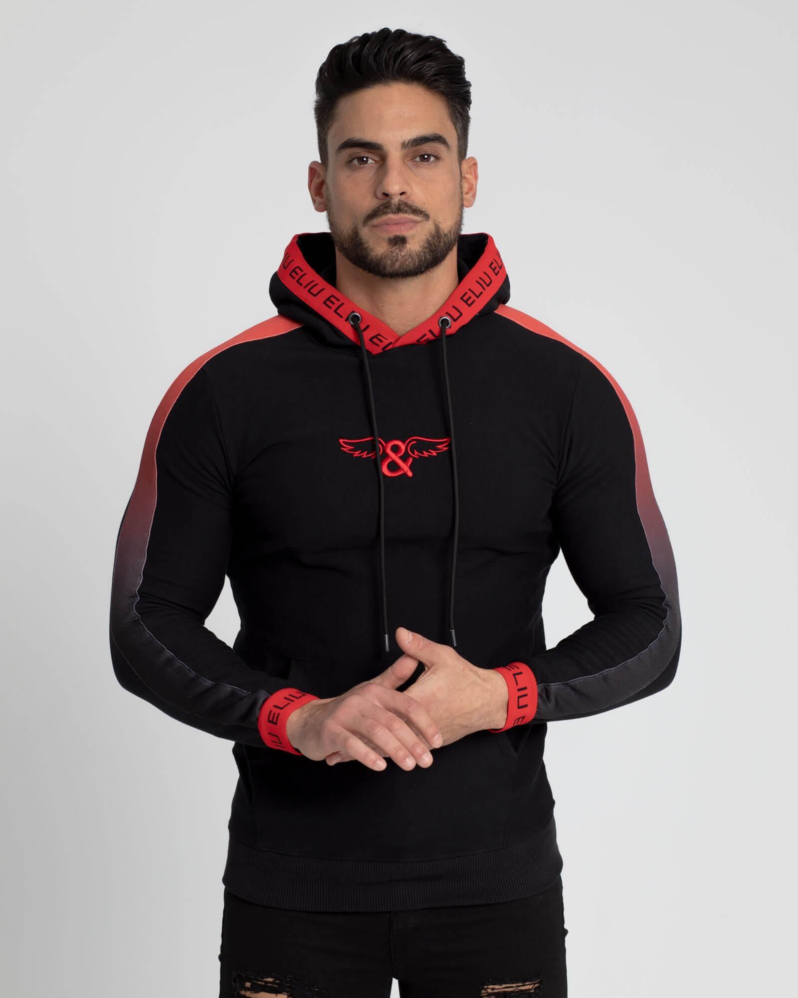 Gradient Hoodie Rojo y Negro. Estilo urbano de streetwear ELIU.