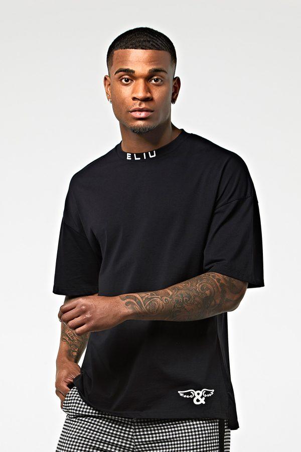 Camiseta oversize punto de algodón negro